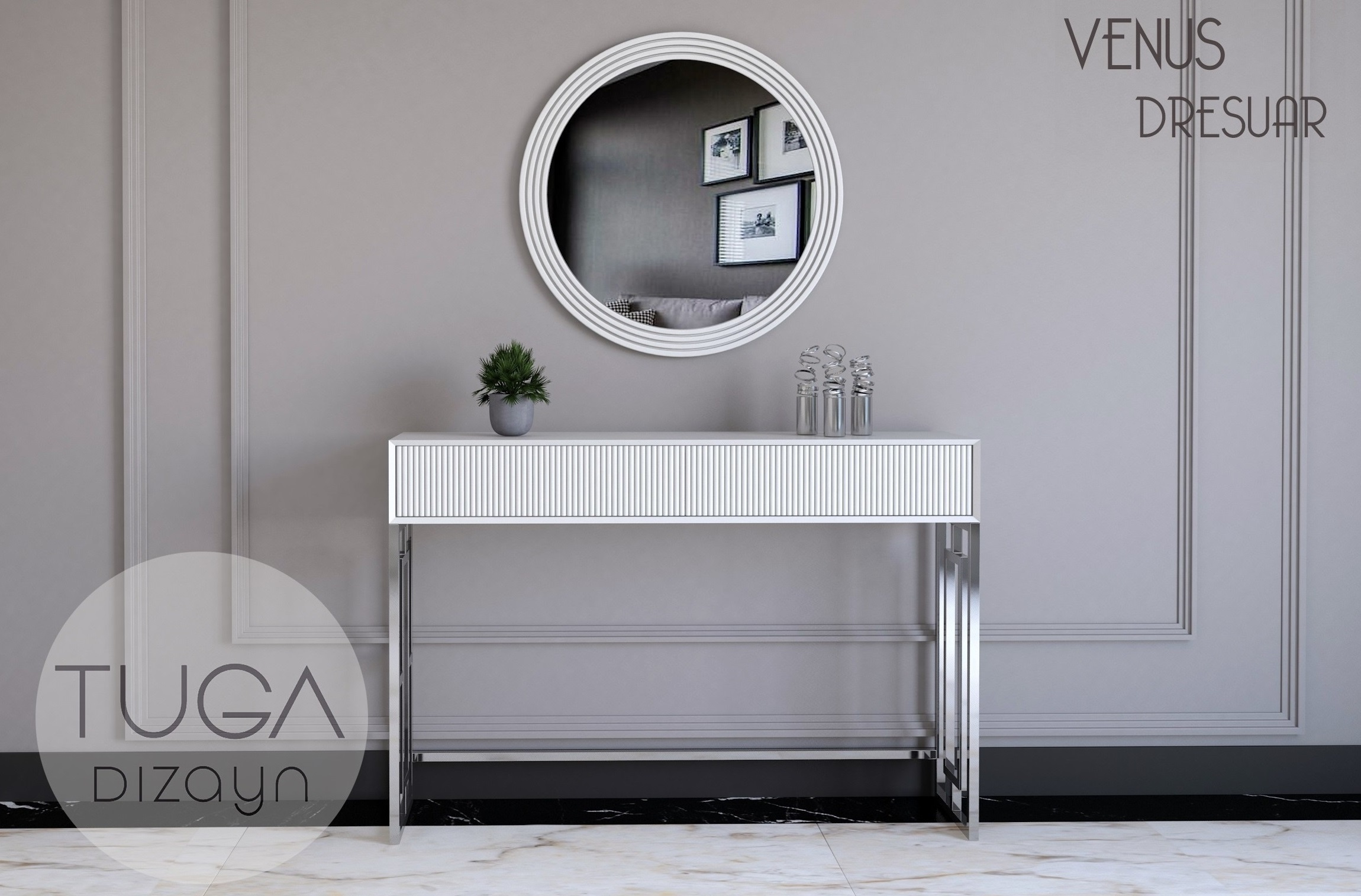 Venüs Dresuar ve Ayna Beyaz