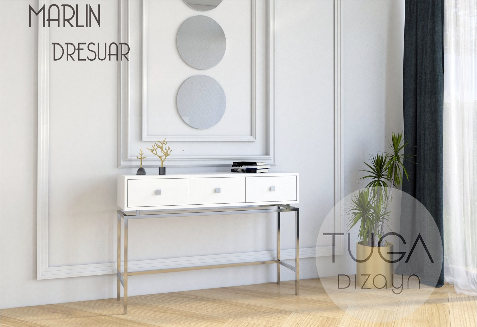 Marlin Dresuar Krom Beyaz
