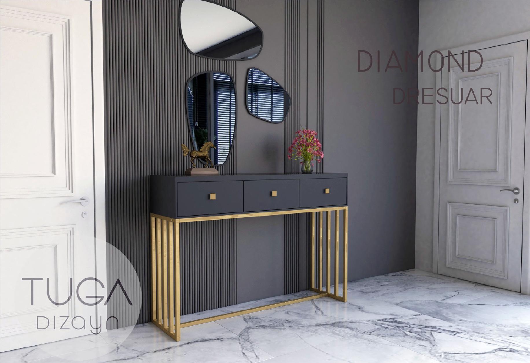 Diamond Dresuar Gold Siyah